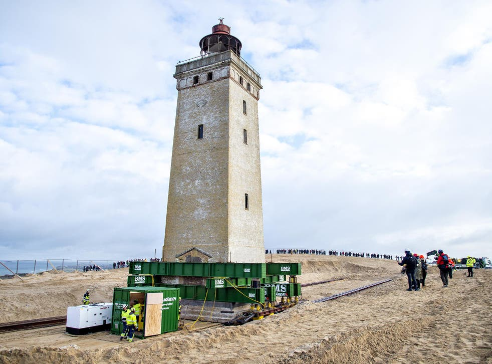Rubjerg Knude lighthouse once stood 650 feet from the shore