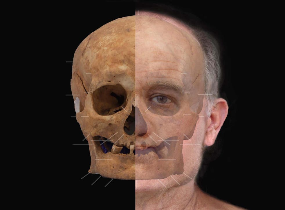 An artist's impression of a medieval skull after experts reconstructed the face of the man whose 600-year-old skeleton was unearthed during excavation work at the redevelopment of Aberdeen Art Gallery in 2015.