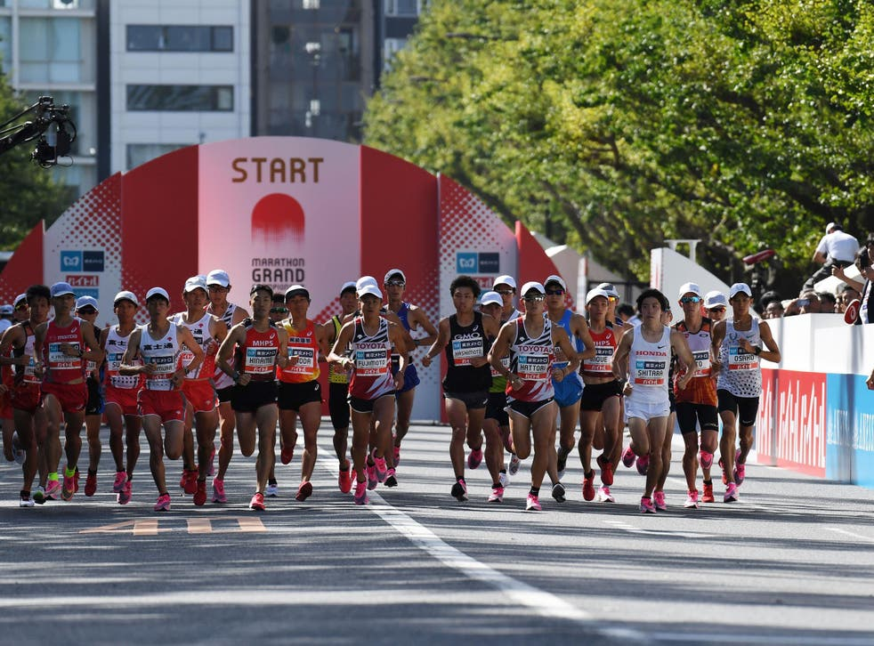 Athletes compete at the marathon test event for the 2020 Tokyo Olympic Games