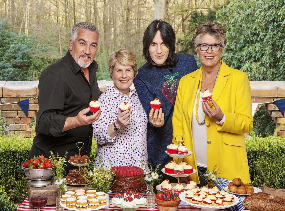 Up for the cupcakes: judges and presenters prepare for Tuesday's GBBO final