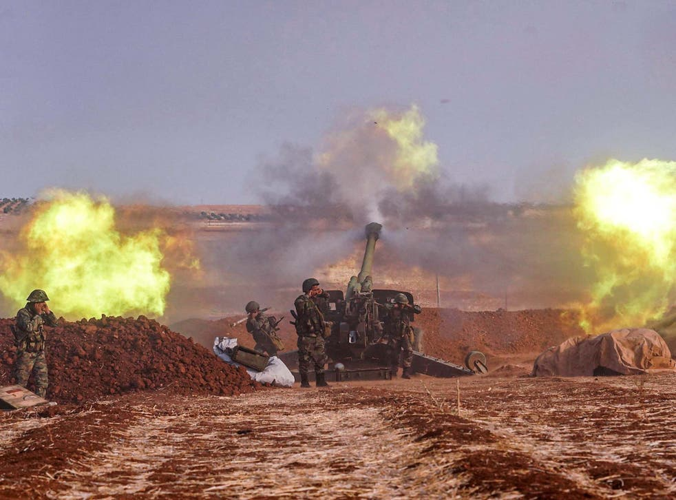 Syrian army artillery guns fire on the southern edges of the Idlib province this week