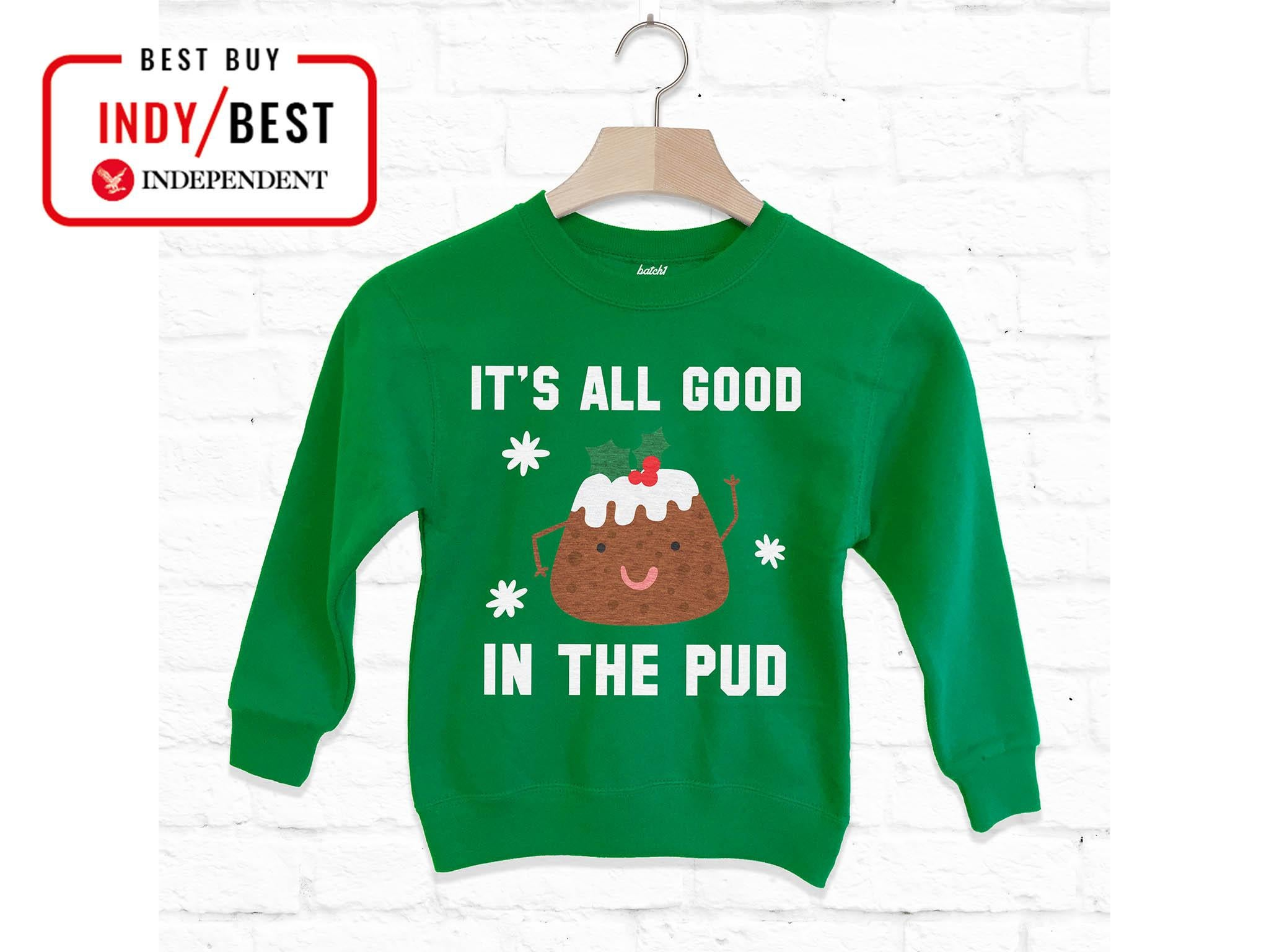 Christmas Boys /& Girls Little Pudding Festive Sweater Jumper