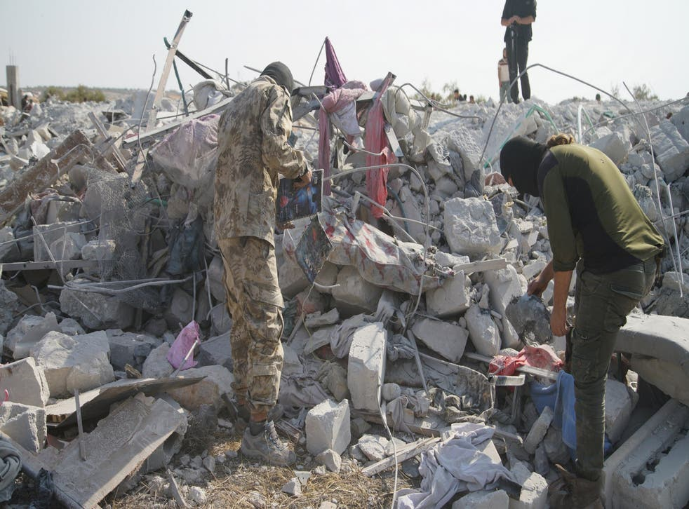 The rubble at the site hit by helicopter gunfire which reportedly killed Abu Baker al-Baghdadi