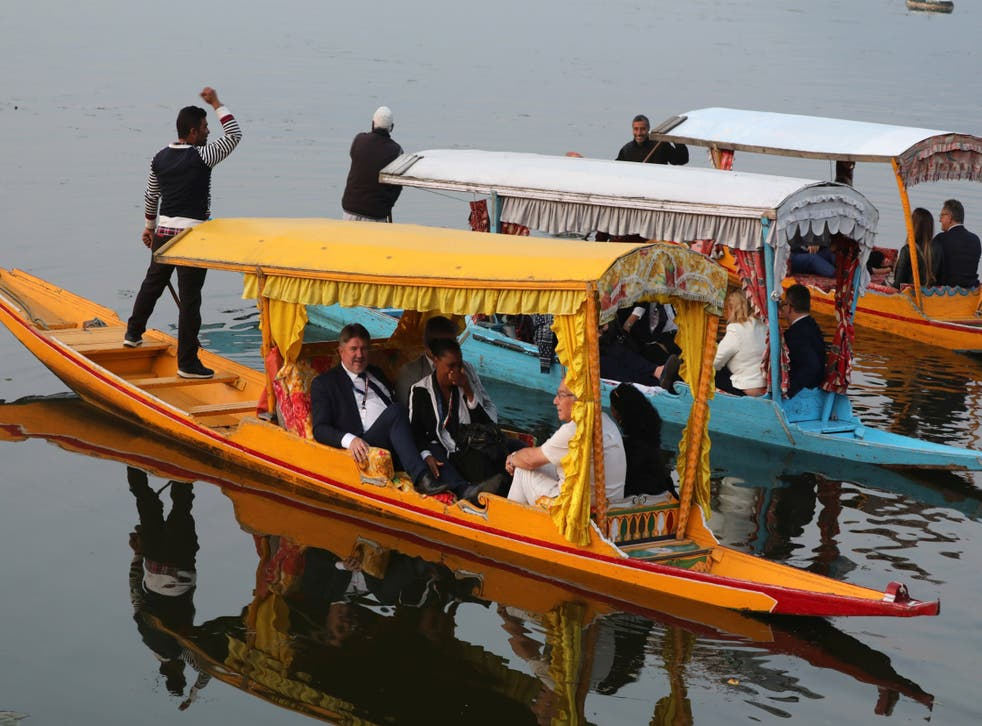 Members of European parliament enjoyed a boat ride on Dal Lake in Srinagar on Tuesday