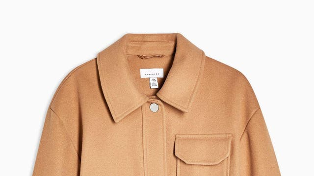 """Camel Utility. Pocket Shacket, £79, <a href=""""https://www.topshop.com/en/tsuk/product/new-in-this-week-2169932/new-in-fashion-6367514/camel-utility-pocket-shacket-9317890"""" target=""""_blank"""" rel=""""nofollow"""" class=""""body-gallery"""" data-vars-item-name=""""GL-9161601-https://www.topshop.com/en/tsuk/product/new-in-this-week-2169932/new-in-fashion-6367514/camel-utility-pocket-shacket-9317890"""" data-vars-event-id=""""c6"""">Topshop</a>"""