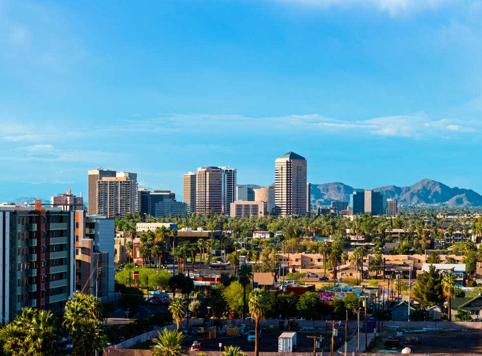 Downtown Scottsdale is framed by the White Tank mountain range