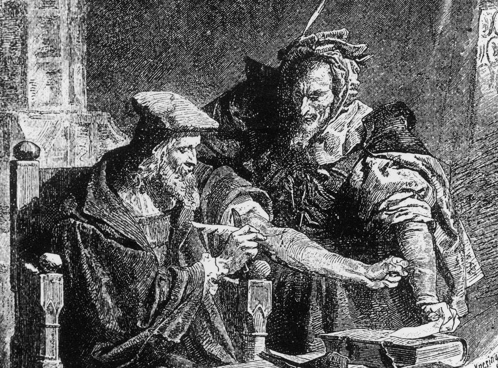 Dr Faustus makes his deal with the devil