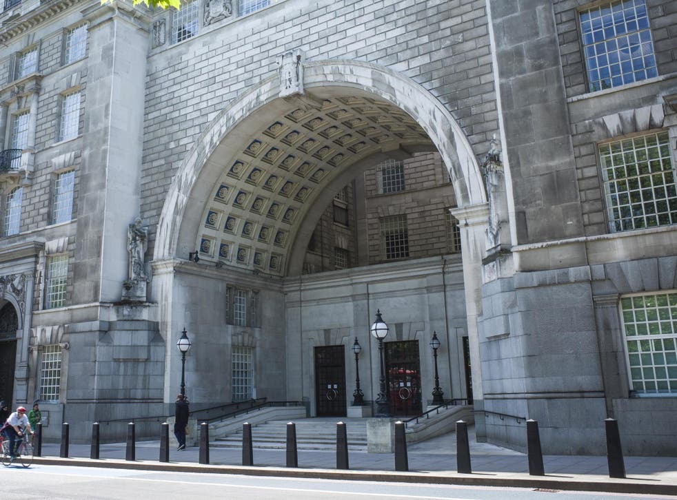 The entrance to the GCHQ building on Millbank, Westminster, an imposing building close to the Houses of Parliament occupied by MI5 and other government services
