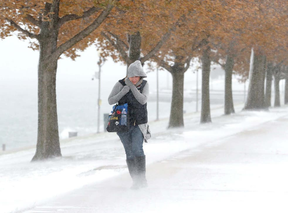 A woman walking inChicago braces herself in the stiff wind and blowing snow off Lake Michigan