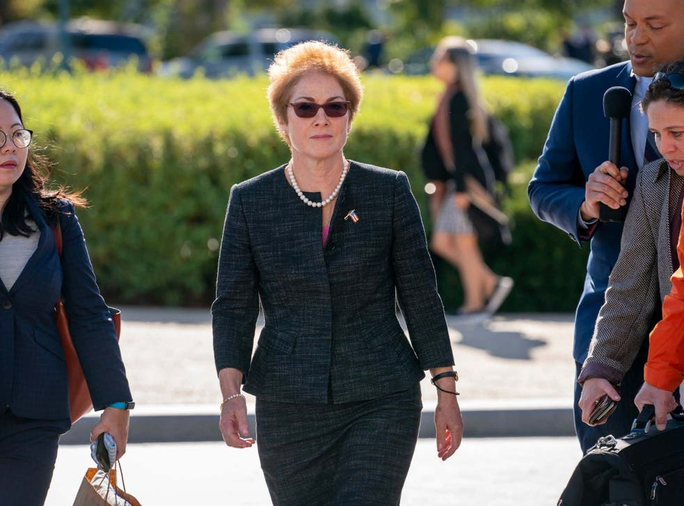Former US ambassador to Ukraine Marie Yovanovitch arrives on Capitol Hill to testify in the impeachment inquiry