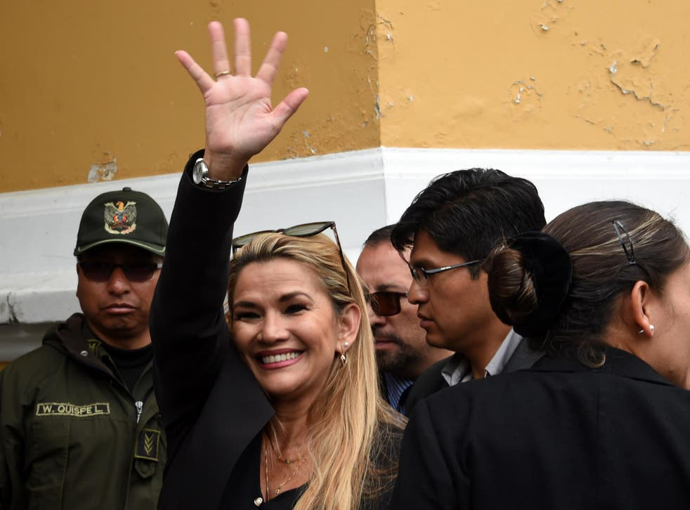 Jeanine Anez arrives at the Congress building in La Pa on Tuesday