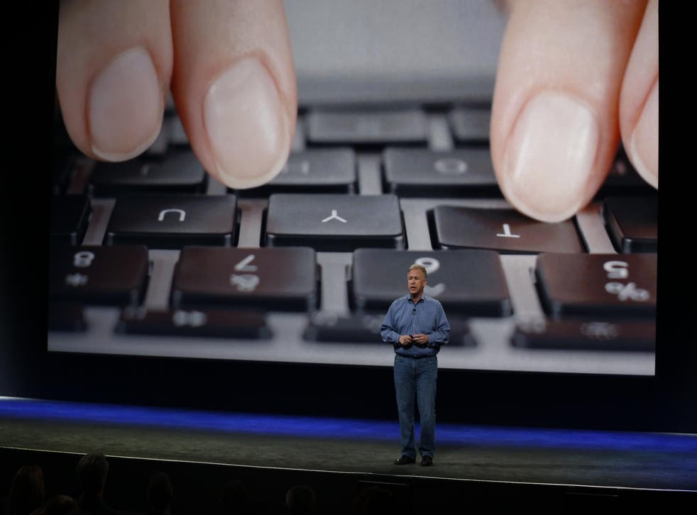 Schiller introduces the previous MacBook's keyboard during an Apple special event at the Yerba Buena Center for the Arts on March 9, 2015 in San Francisco, California