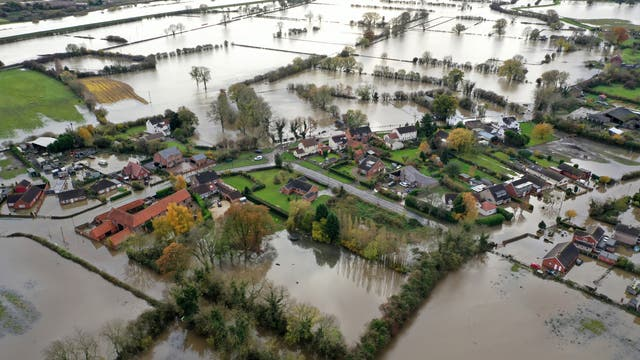 Flood water covers the roads and part of local houses in the Fishlake area in Doncaster
