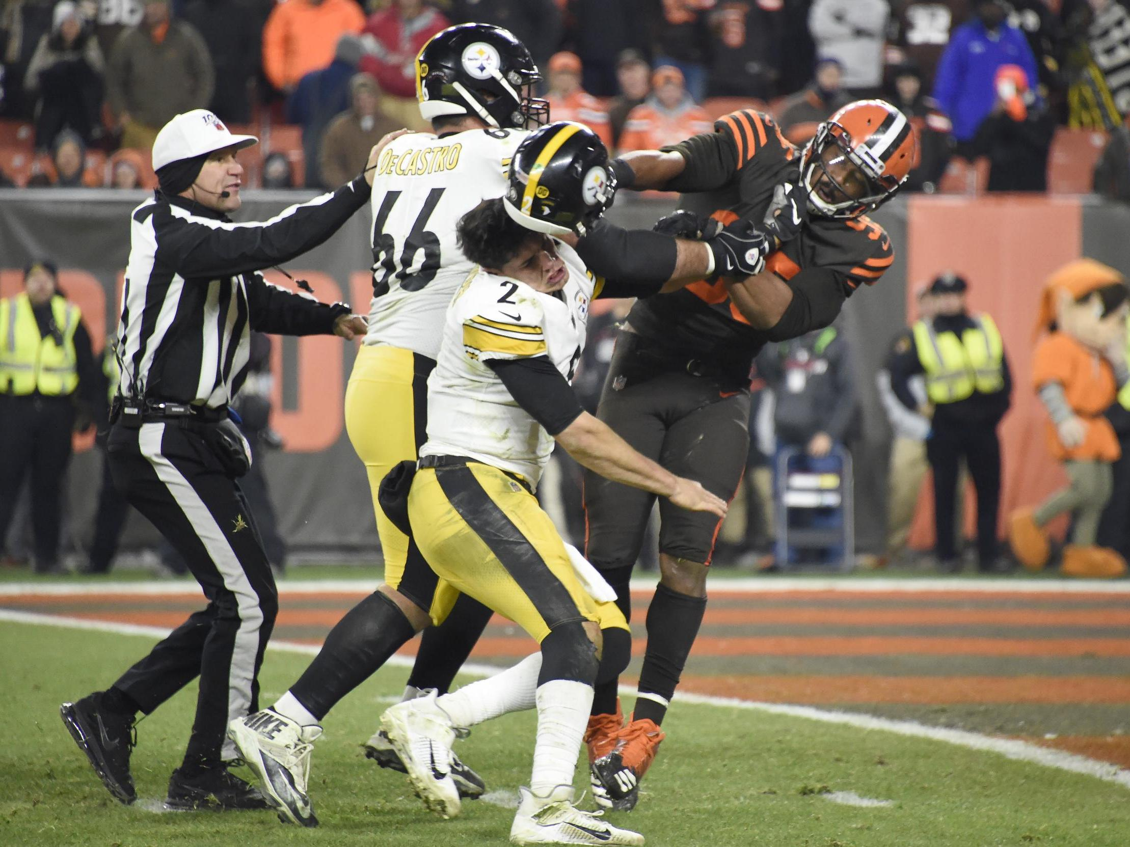 Shocking moment of violence tarnishes Cleveland Browns' win over Pittsburgh Steelers