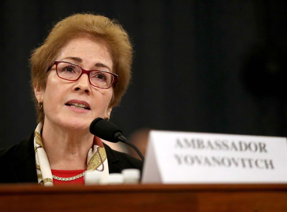 Marie Yovanovitch testifies before House investigators in Donald Trump's impeachment inquiry.