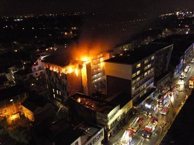 Every floor of the private student accommodation was affected by the blaze, fire chiefs said