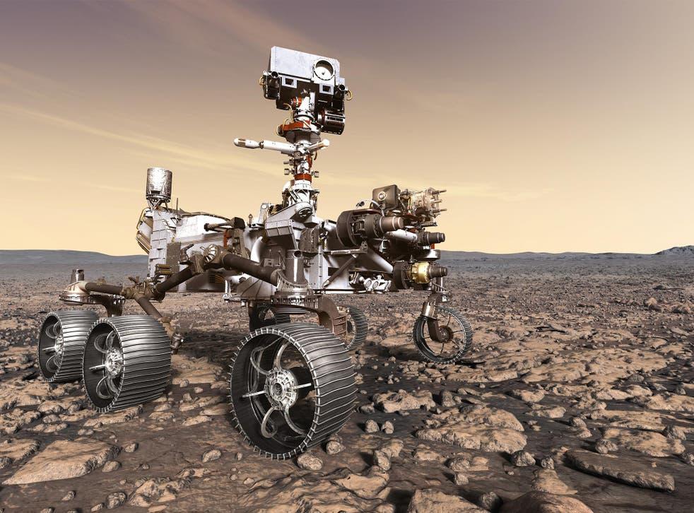 Artist's rendering of Nasa's Mars 2020 rover after landing