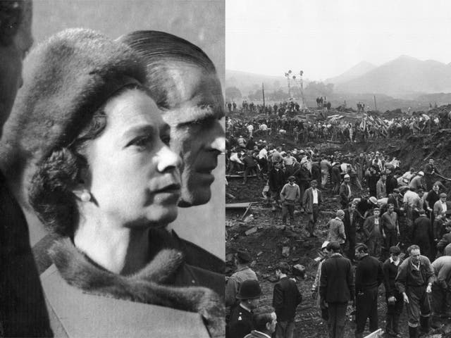 Queen Elizabeth II and Prince Philip visit Aberfan on 29 October 1966 / Helpers in the wreckage of the Aberfan disaster on 24 October 1966