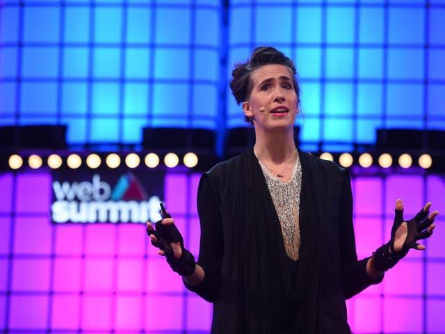 Imogen Heap speaks about her Mycelia Creative Passport at a web summit in Lisbon, Portugal