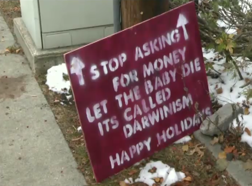 'Cruel' sign placed by sign asking for donations to help baby battling rare disorders (ABC13)