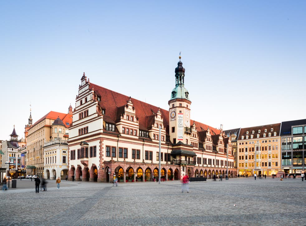 Old town hall and market place in Leipzig