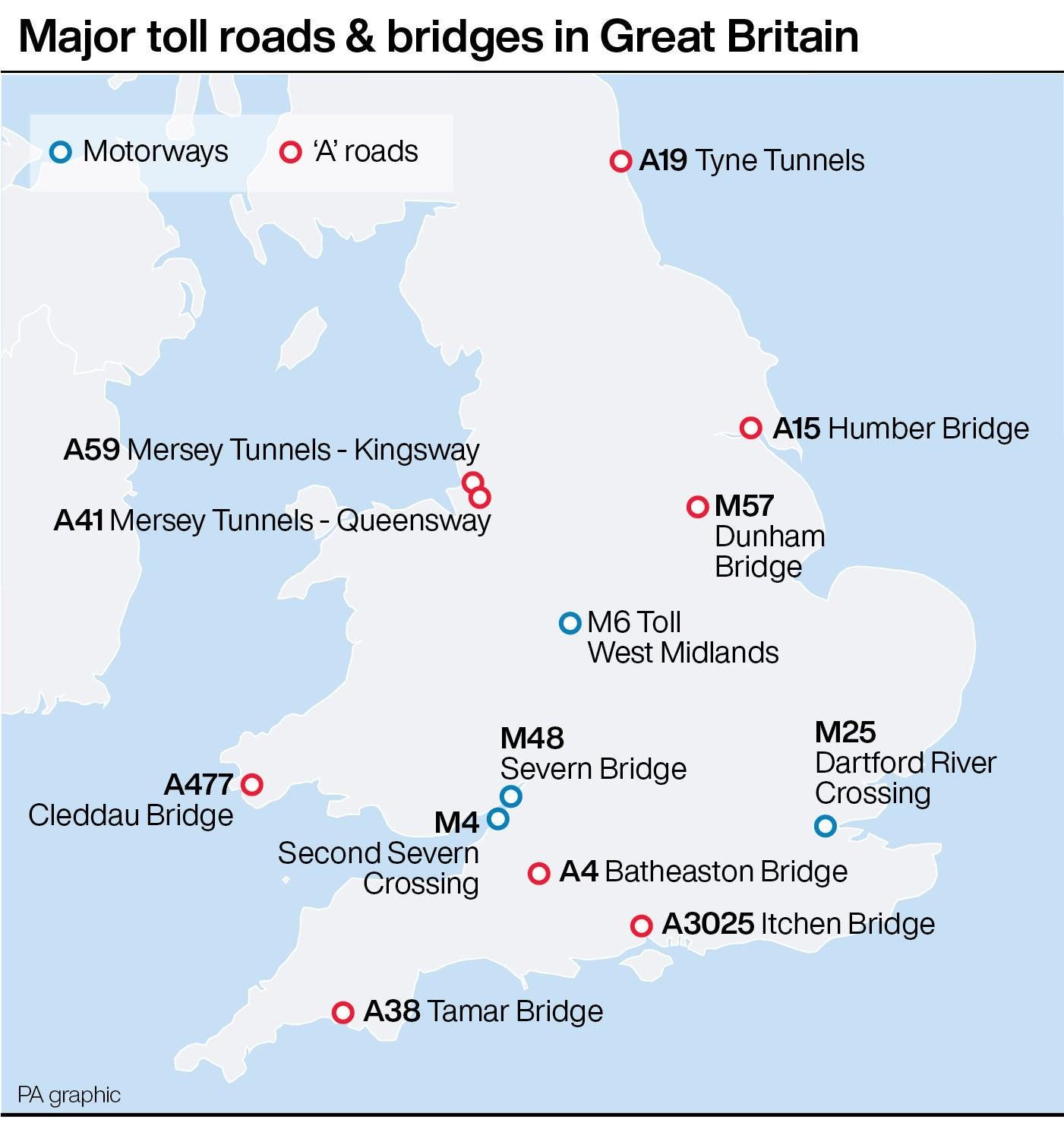 Major toll roads & bridges in Great Britain