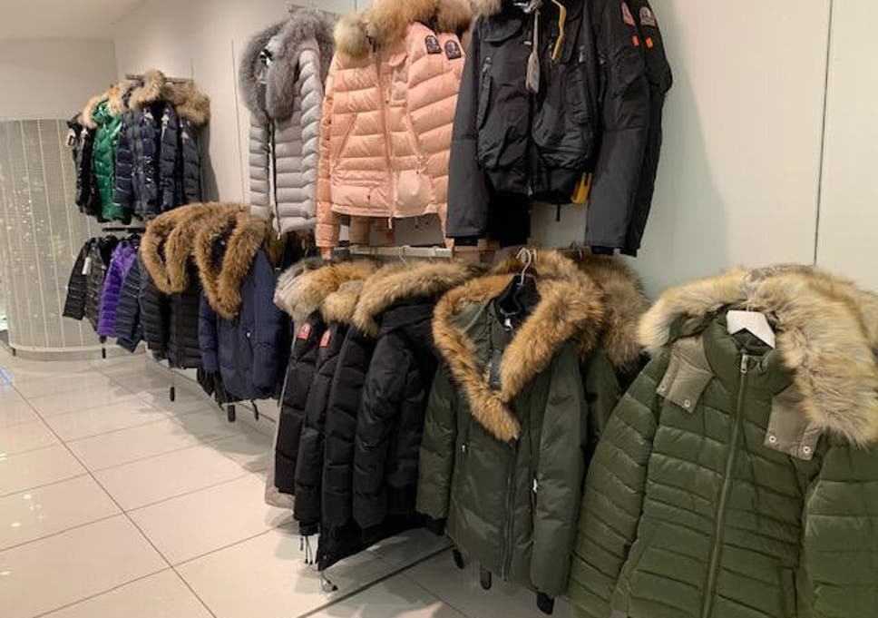 Clothing containing real fur at a House of Fraser store last week. The items have since been replaced.