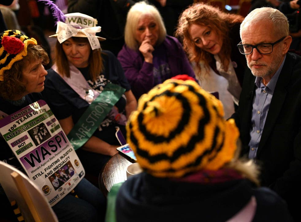 Mr Corbyn also met a group of Waspi women in Renishaw, north-east Derbyshire, and told them he was 'proud' of the policy