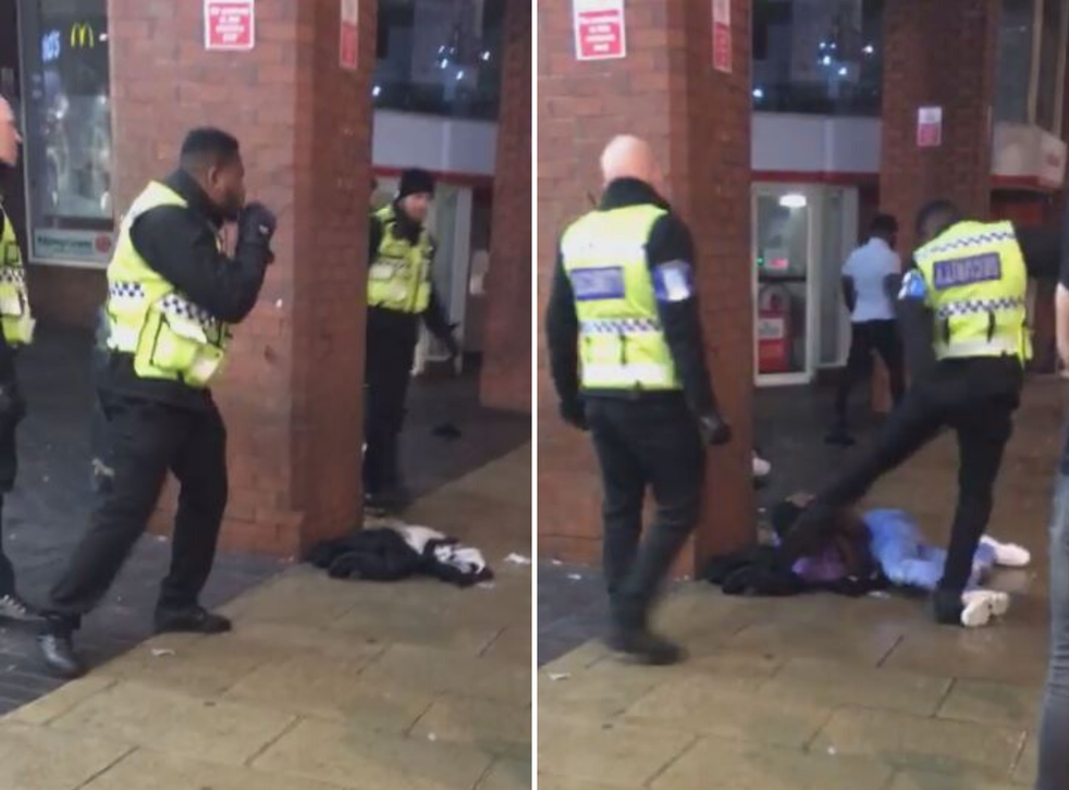 Still image from video shared on social media of security guard kicking young man outside McDonald's restaurant in Leeds city centre, 26 November, 2019.