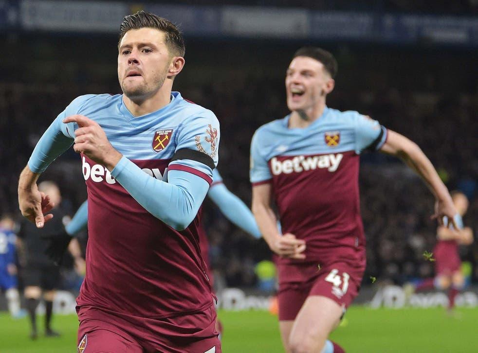 Aaron Cresswell celebrates after scoring West Ham's winning goal