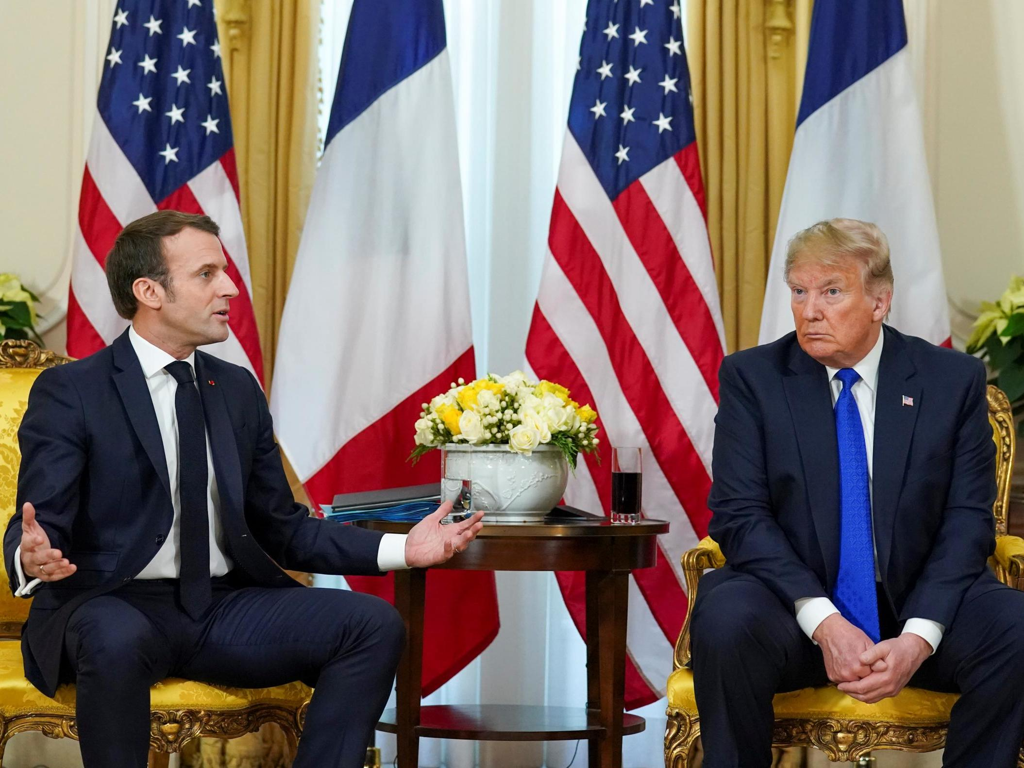 Trump impeachment news – live: President in tense exchanges with Macron over Isis joke after calling French leader 'very nasty' at Nato summit