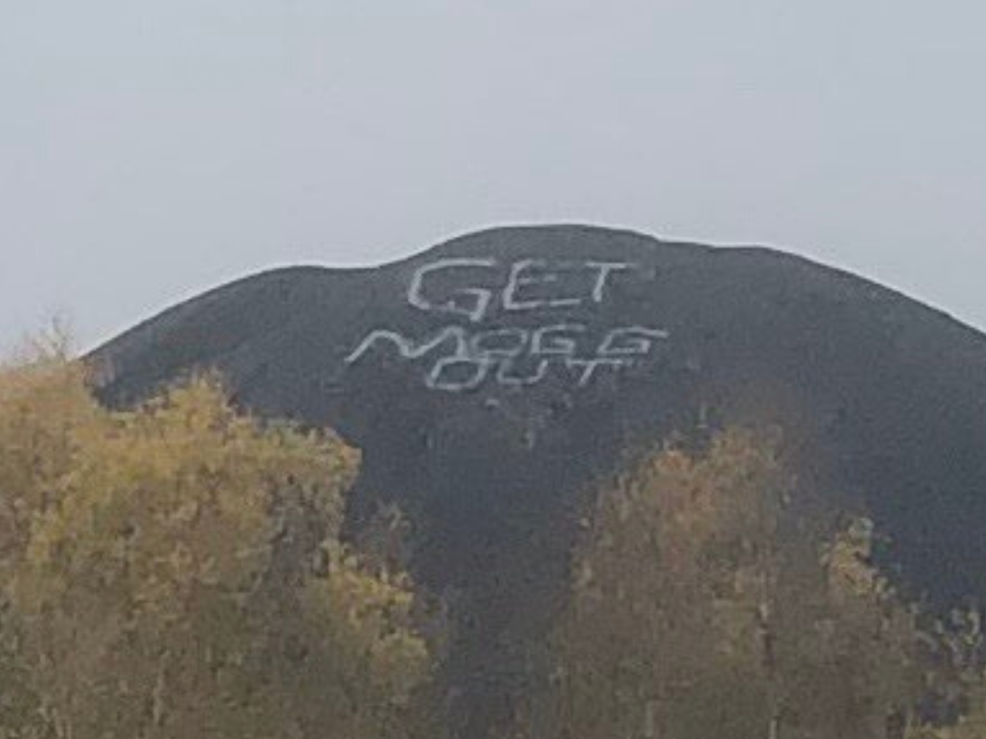 Giant 'Get Mogg Out' message appears on hill near Tory MP's home