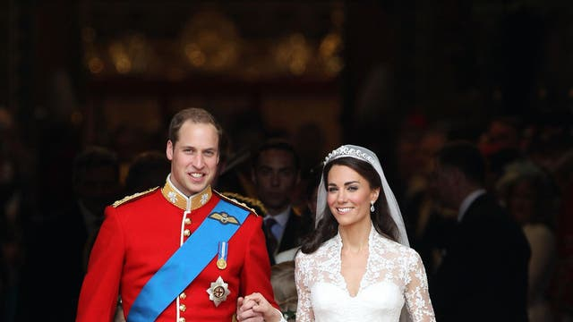 For her wedding day on 29 April 2011, Kate Middleton chose a gown designed by Sarah Burton at Alexander McQueen which was inspired by the Victorian tradition of corsetry. The lace appliqué on the skirt and bodice was handmade by the Royal School of needlework, while the train made for a dramatic entrance measuring at two meters long.