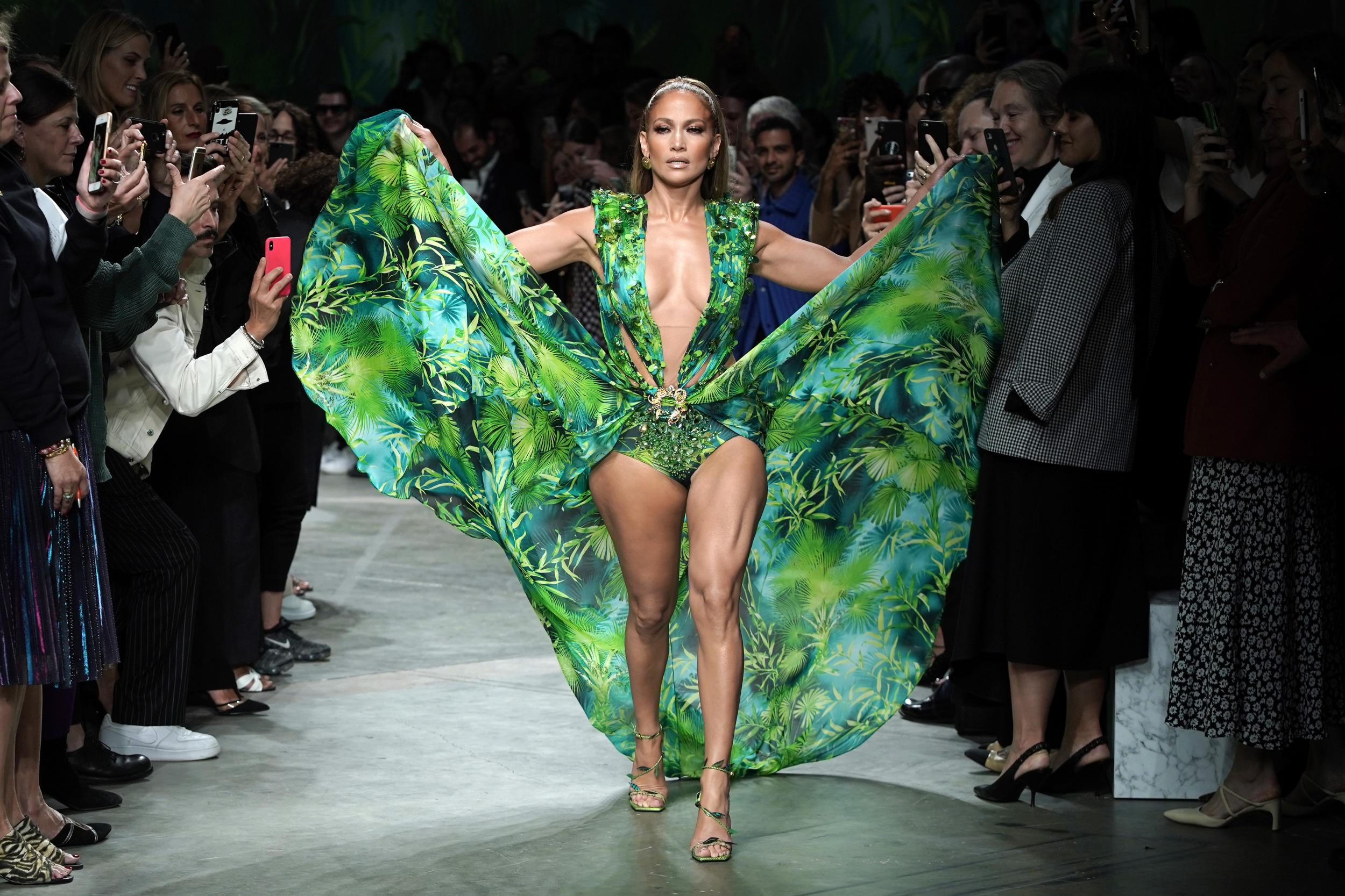 9 - Jennifer Lopez's green dress, Versace, 2019