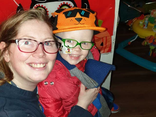 Samantha Novle, 28, and her three-year-old son, Matthew, who was diagnosed with cancer in May, before the family fell into serious financial difficulties
