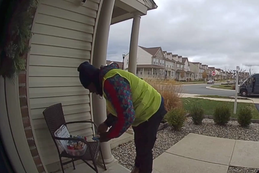 Amazon delivery worker's 'priceless' reaction to customer's gift caught on doorstep camera
