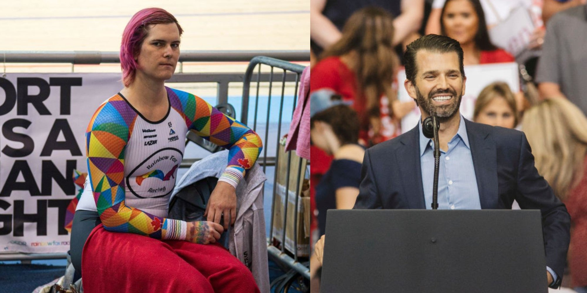 Transphobic comments from Trump Jr led to a champion cyclist receiving death threats