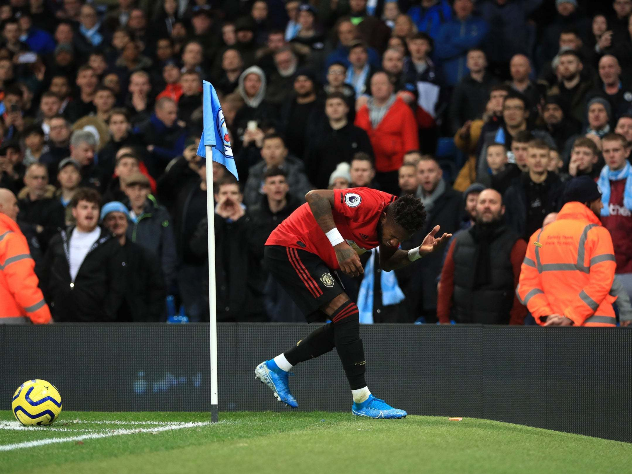 Man City vs Man United: Fred struck by object that appeared to be thrown by City fan during derby