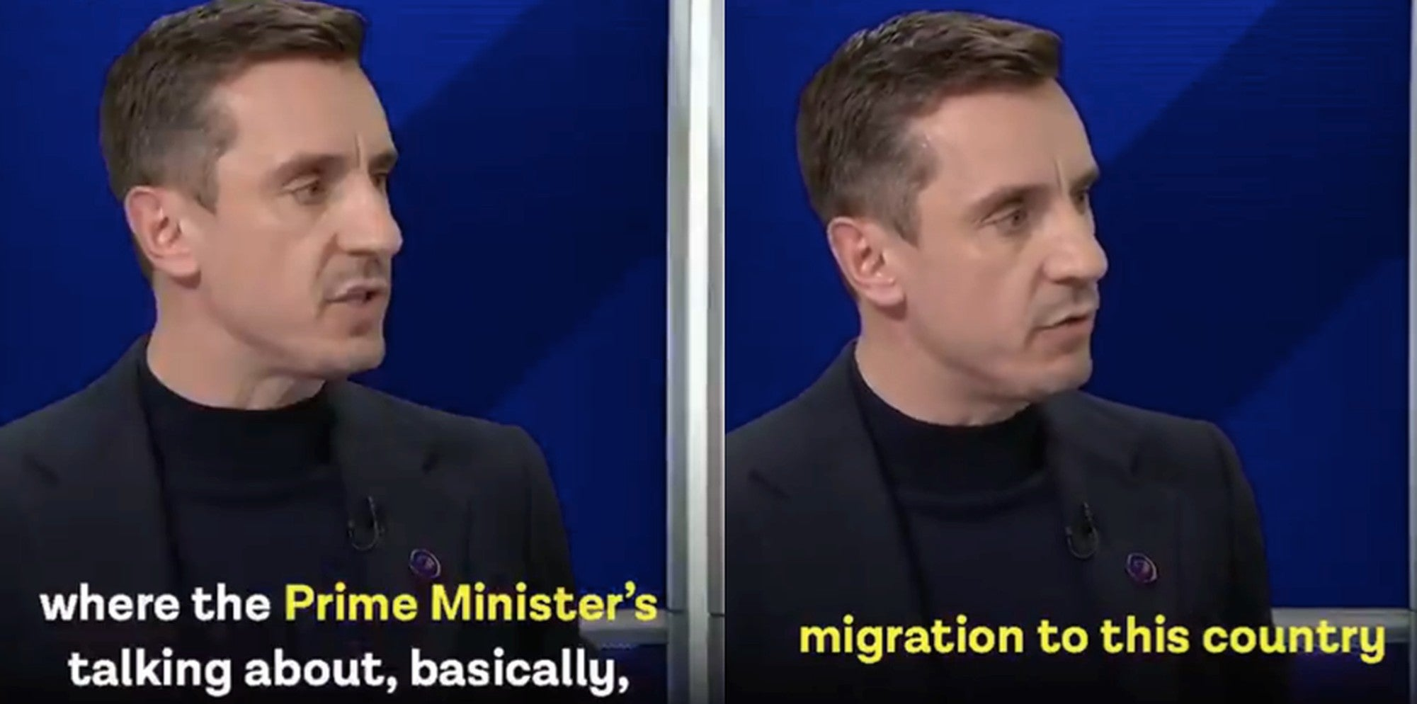 Gary Neville was asked why racism in football is rising. He pointed the finger at Boris Johnson