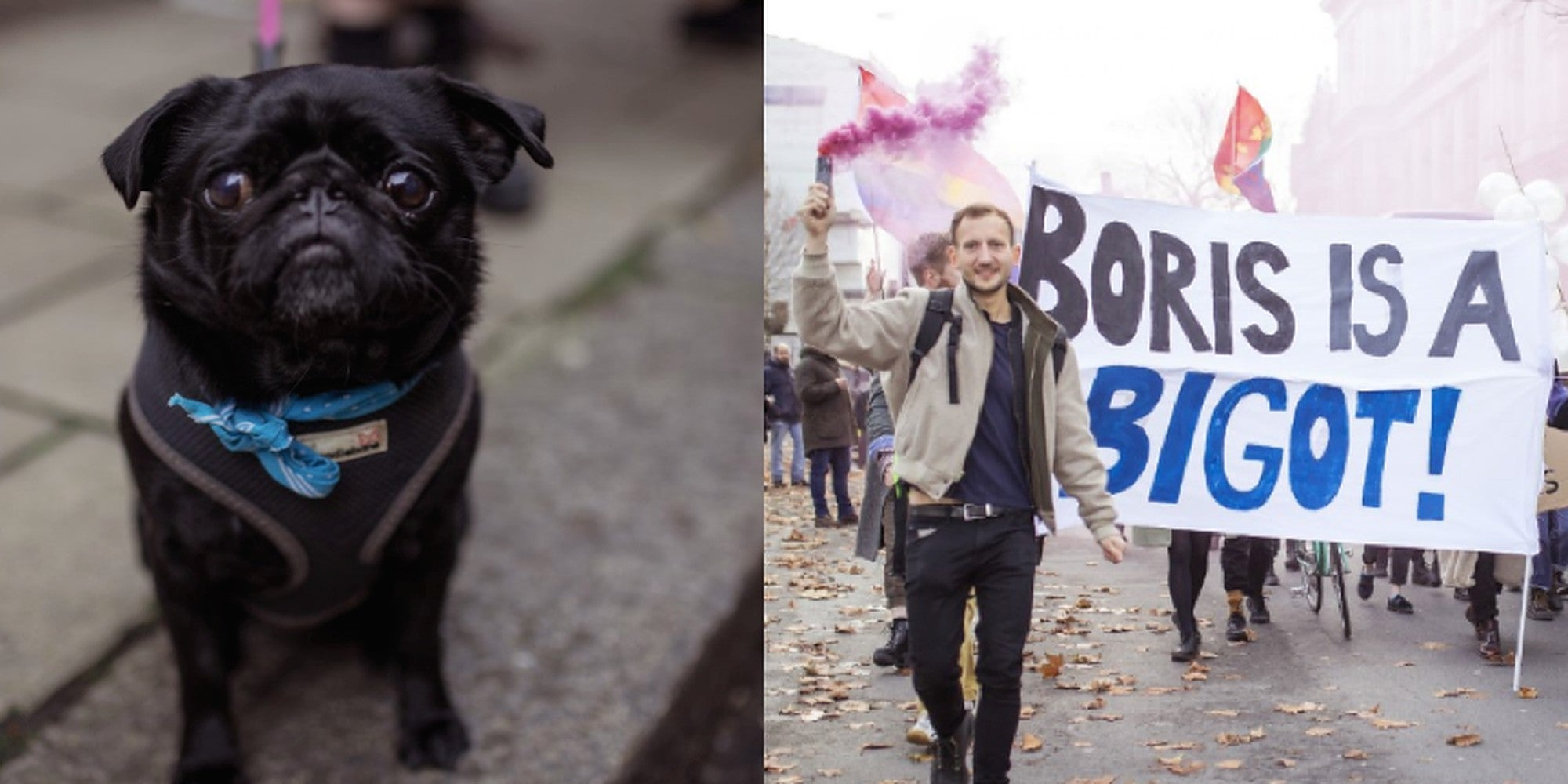 LGBT+ activists stage 'wedding' between three men and a dog outside Tory HQ to protest Boris Johnson's 'homophobic' comments