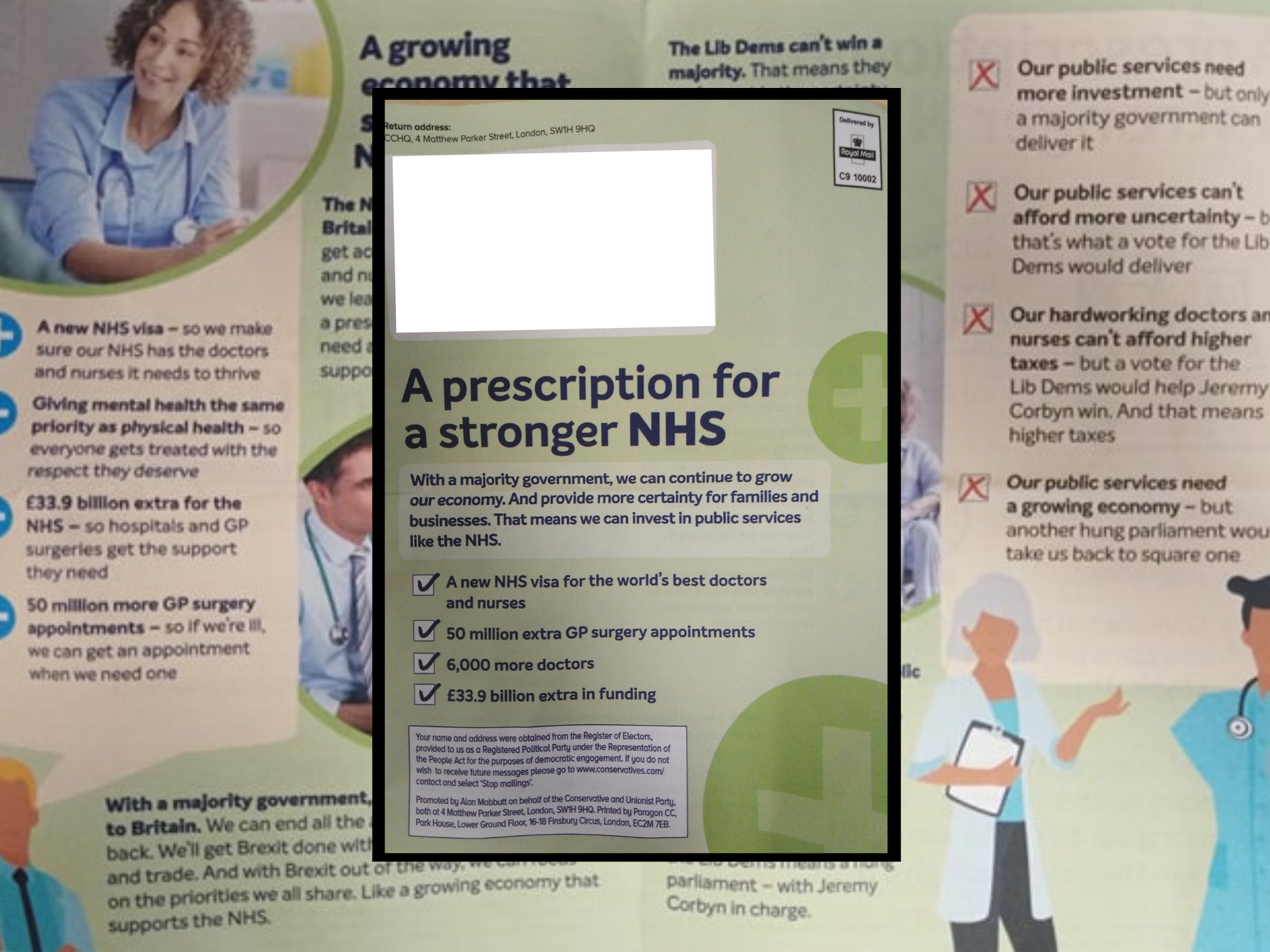 Tories produce 'deeply dishonest' election leaflet imitating NHS prescription with barely visible mention of party name