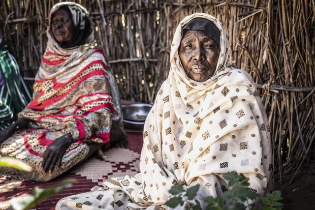 Khadmalla, in her 60s, inside Zamzam displacement camp in North Darfur