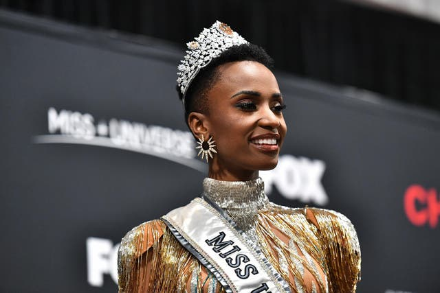 Miss Universe 2019 Zozibini Tunzi, of South Africa, appears at a press conference following the pageant