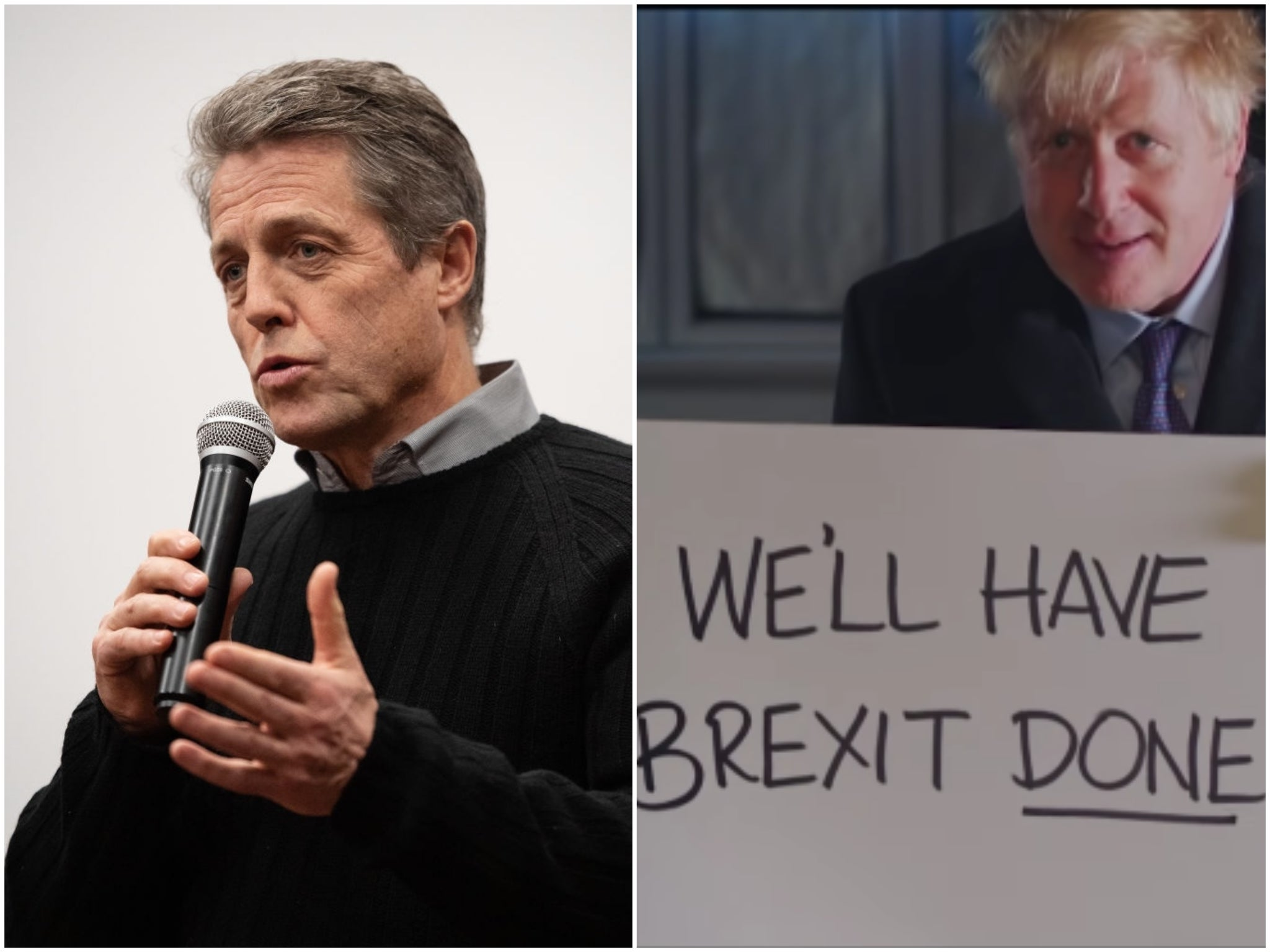Hugh Grant points out crucial difference between Love Actually and Boris Johnson's spoof campaign video