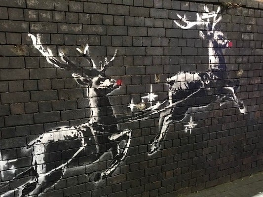 Banksy: Mysterious street artist's new mural highlighting homelessness defaced by 'sketchy' vandal