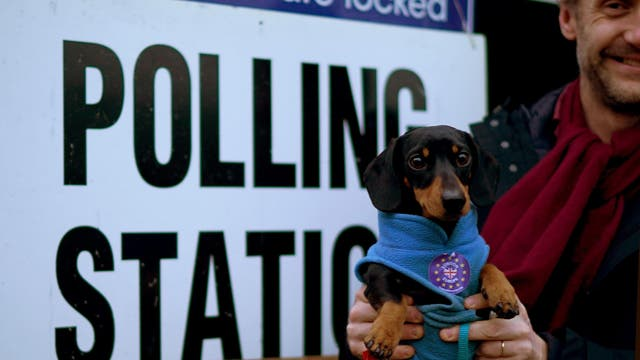 A voter carries his dog with a pro-EU sticker on his coat at the polling station at Pakeman Primary School