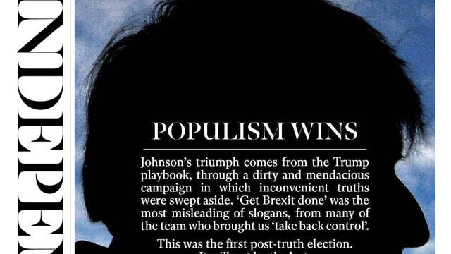 """The Independent compares Boris Johnson's victory to Donald Trump's in America, branding it a """"post-truth"""" election"""