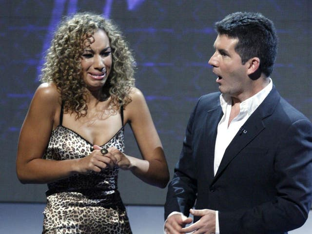 Leona Lewis with Simon Cowell during her big win of 2006
