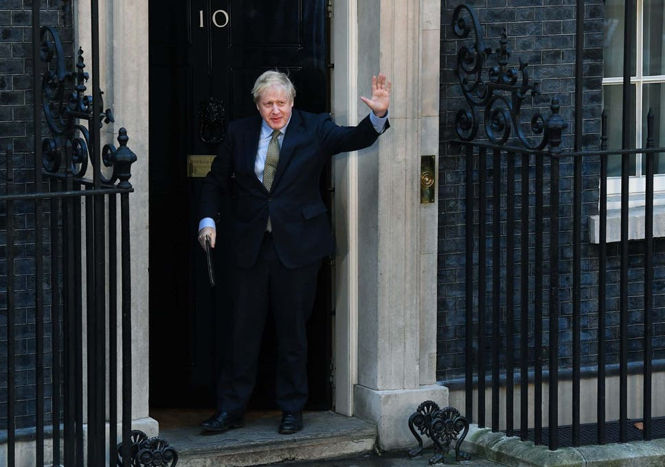 Boris Johnson leaves No 10 to deliver a post-victory speech