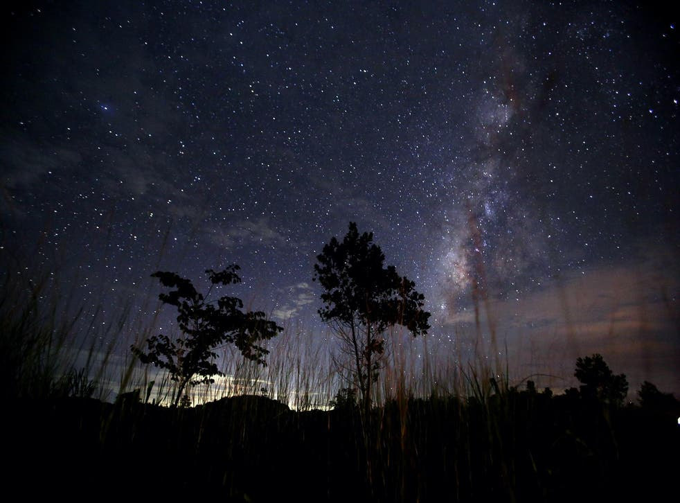 This long-exposure photograph taken on August 12, 2013 shows the Milky Way in the clear night sky near Yangon